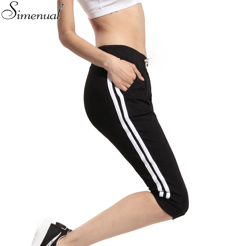 Fashion new sport leggings for women 2016 summer striped black slim midi legging sports gym clothing running casual jeggings hot(China (Mainland))