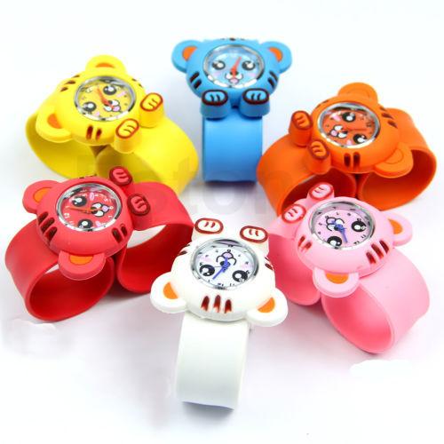 Free Shipping 1PC Unisex Children Kids Cute Cartoon Tiger Slap Snap Bendable Rubber Quartz Wrist Watch(China (Mainland))