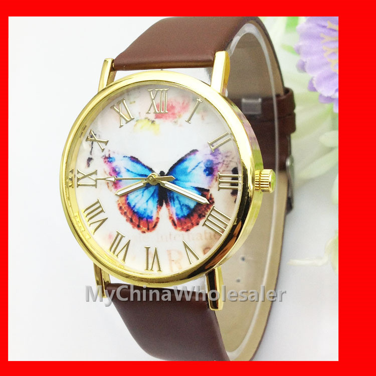 6 Multi Colors New Leather Band Stylish Butterfly Fashion Women's Wristwatches Rome Numbers Scale Geneva Watch Dress Watches - MyChinar store