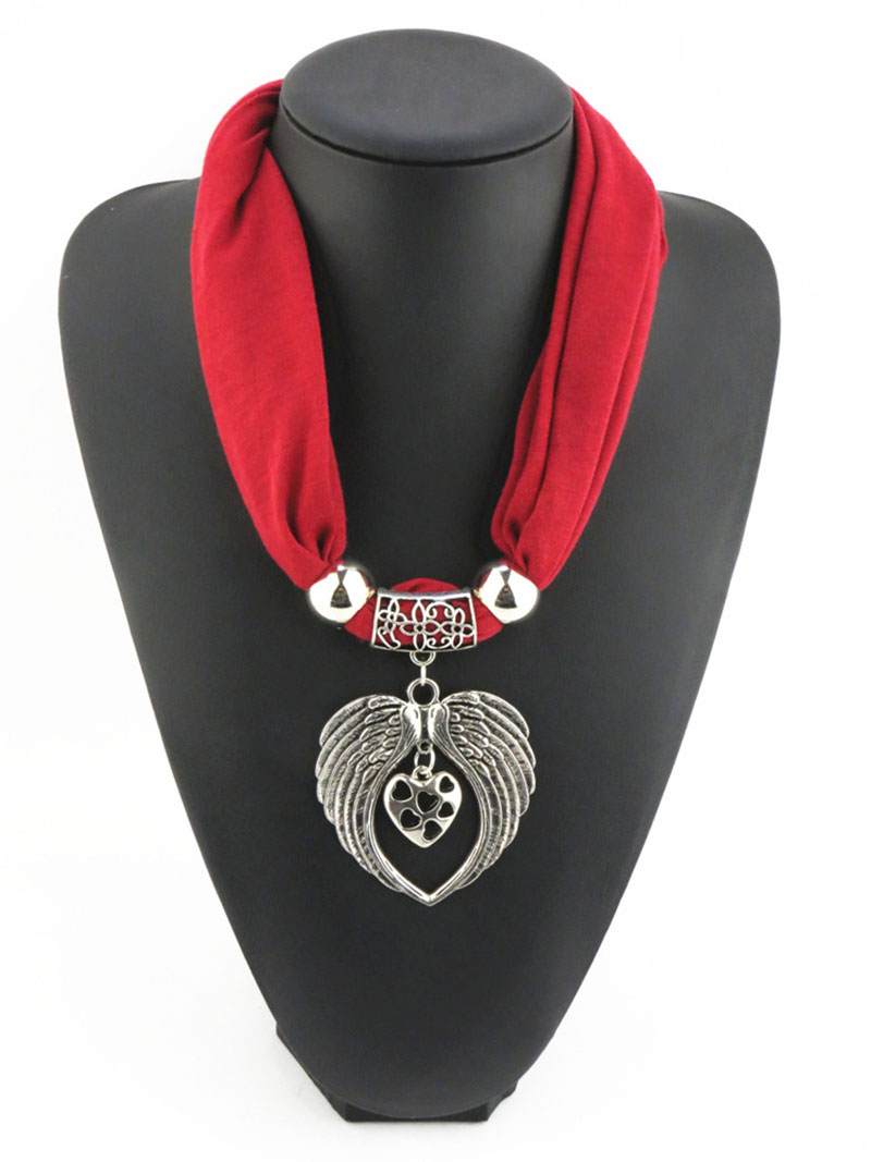 Winter Scarf Pendants Necklaces Bow Fabric Soft Scarf Necklaces for Women Elegant Necklace Jewelry Accessories
