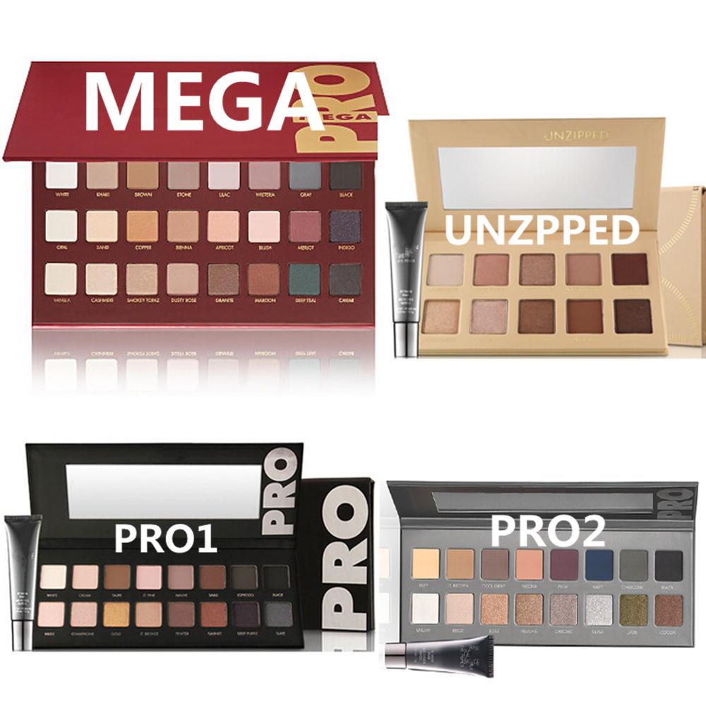 1 PC Makeup MEGA PRO 1 2 eye shadow Palette 32 16 10 Color and UNZIPPED 10 colors Eyeshadow With Eye Primer Make up nake balm(China (Mainland))