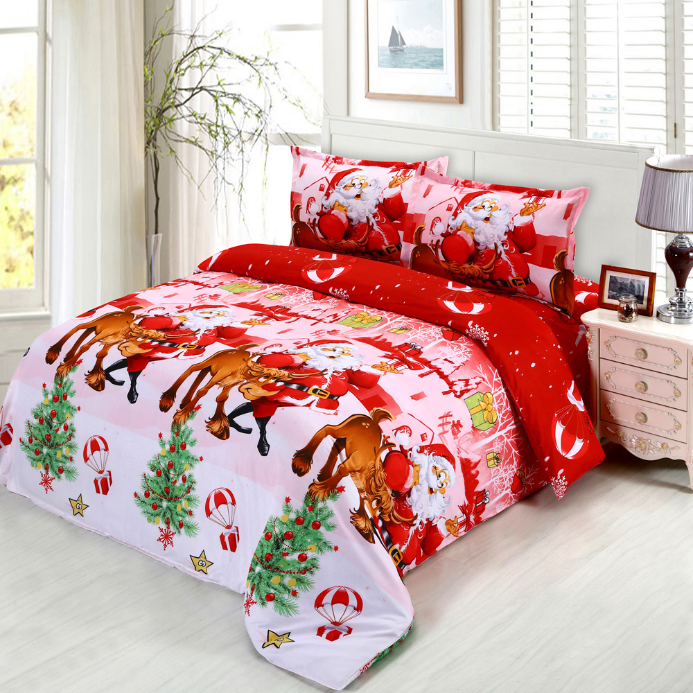 Cotton 3D Printed Cartoon Merry Christmas Gift Santa Claus Comfort Bedding Set Bedclothes Duvet Quilt Cover Bed Sheet 4pcs/set(China (Mainland))