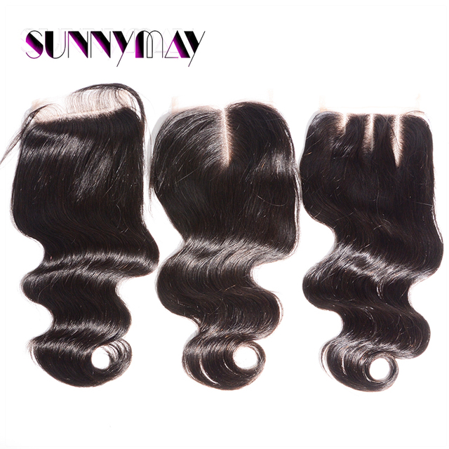 Sunnymay Free Shipping Body Wave 4x4 Pre Plucked Lace Closure Slightly Bleached Knots Top Grade Brazilian Virgin Hair Free Part