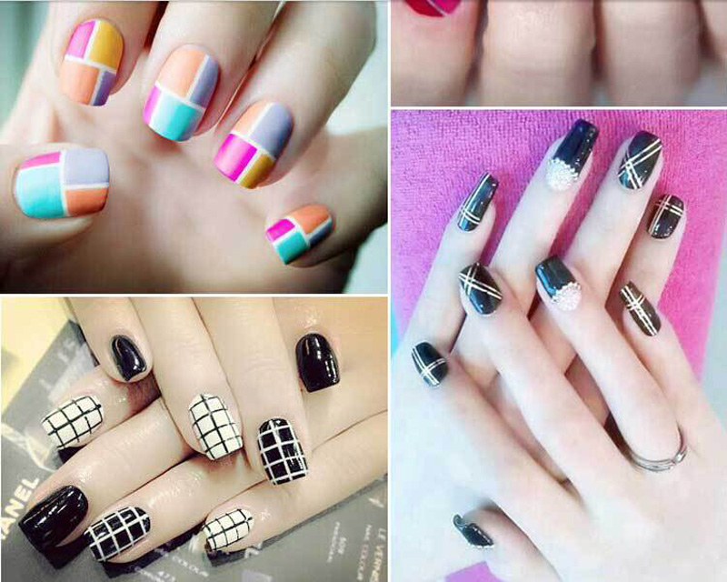 Синий Дизайн ногтей с декоративными лентами 187