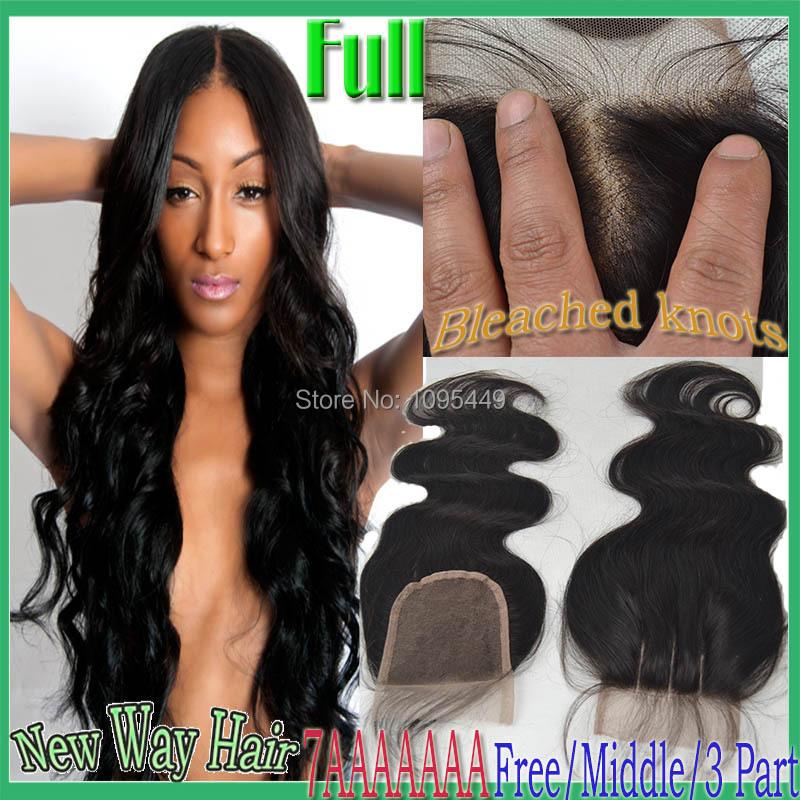 7A Cheap Brazilian Lace Closure Bleached knots Virgin Hair Brazilian Body Wave Closure, Human Hair Closures, Lace Front Closure(China (Mainland))