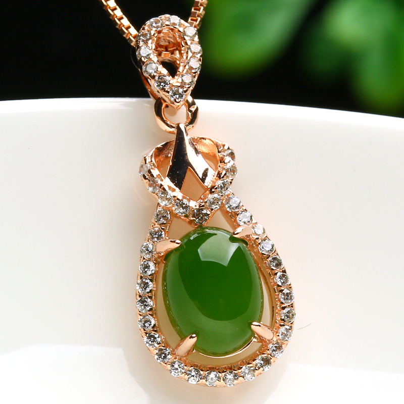 Genuine natural jade necklace fashion 925 silver inlay spinach green pendant lady Tian Biyu - Xuemei Hao's store
