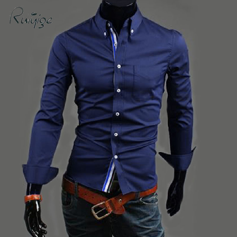 2016 Mens Long Sleeve Dress Shirts Turn-down Collar Casual Unique Design Slim Fit Brand Chemise Homme Camisa T305 - RUIYIGE Official Store store