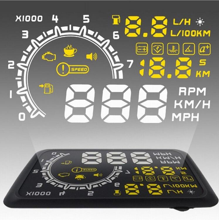 New W02 Car HUD Projector Head Up Display OBD II HUD car styling 5.5 Inch Comprehensive Display car alarm system car detector(China (Mainland))