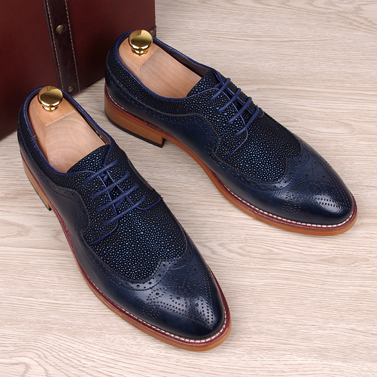 England fashion men genuine leather brogue shoes pointed toe carved bullock flats shoe casual vintage breathable comfortable man - Miyado store