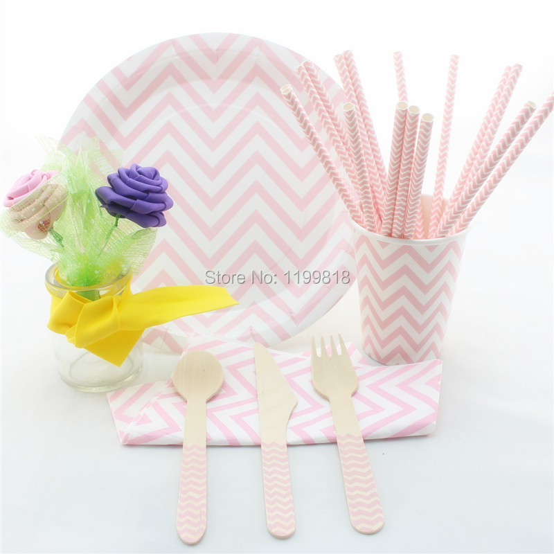 Free Shipping Disposable Party Tableware Wooden Utensil Paper Cups Plates Straws Napkins for Party Wedding(China (Mainland))