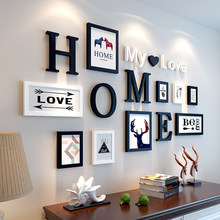 9pcs/lot Picture Frames HOME My love letters Wooden Photo Frame Set Wall Decoration Handmade Photo Frame Home Decor Marco Fotos(China)