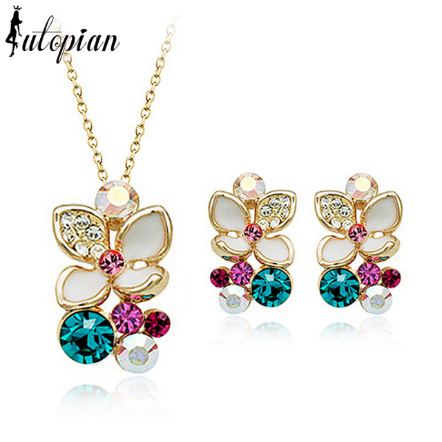Iutopian Brand Valentine's Day Gift Elegant Flower Rose Gold Plated Jewelry Set  With Austrian Crystal Stellux #RG20405
