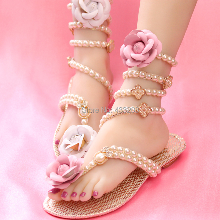 2016 Pearls Beaded Women Gladiator Sandals Camellia Flower Flat Heel Sandals Sexy Snake Gladiators Summer Shoes Woman<br><br>Aliexpress