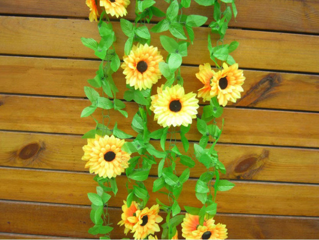 fake artificial sunflower hanging vines for wedding garden decoration (10 pieces/lot)