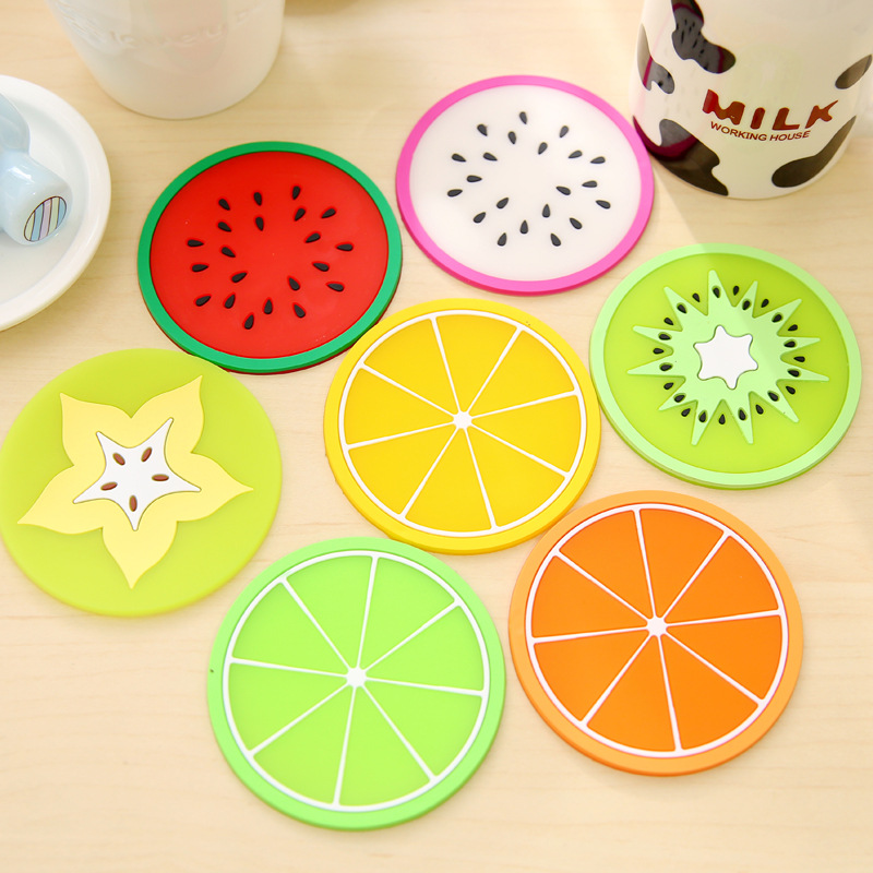 1 pcs silicone dining table placemats coaster kitchen accessories mat cup bar mug fruit colorful placemats coaster mats & pads(China (Mainland))