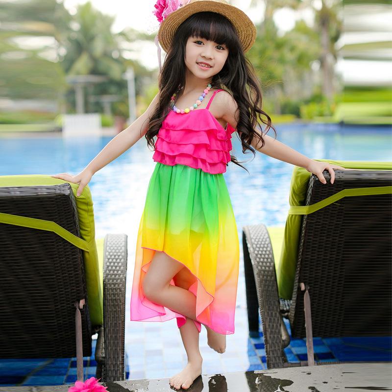 Vestidos De Arco Iris Pendiente Para Chicas 2015 Jarretera De Playa De