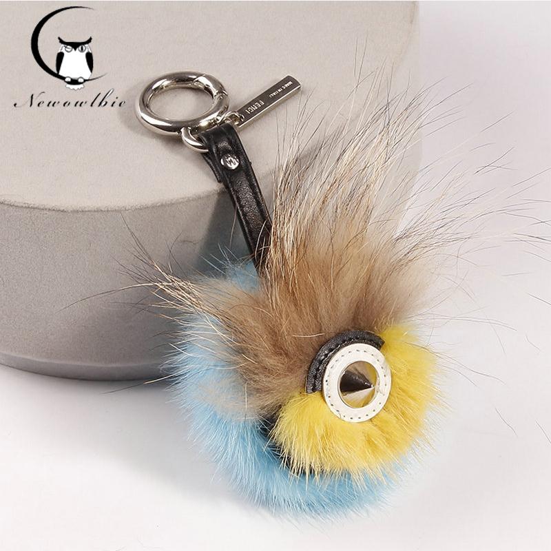 Monster fur Real mink fur Keychain bag charm car pendant of cute owl fur Fashion key chains Karlito bag charm(China (Mainland))