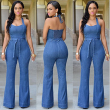 2015 aliexpress big European and American fashion jeans women slim casual Jumpsuit with belt