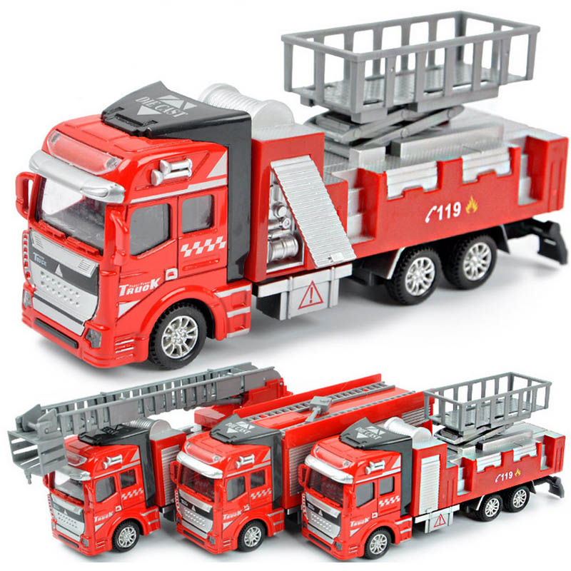 3pcs/lot Fashion Kids Educational Toys 1:48 Metal and Plastic Pull back Fire Truck Model Toy(China (Mainland))