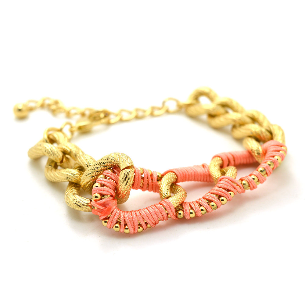 Fashion Jewelry Trendy Texture Gold Plated with Pink Rope ...