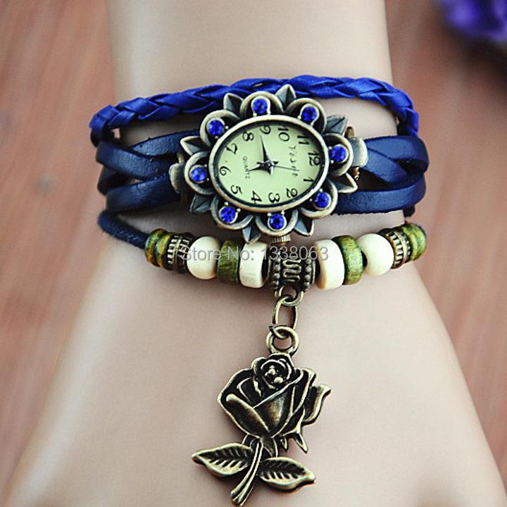 Последние популярные женщины стильный розовый узор переплетения кожаный браслет год сбора винограда кварцевые платье часы, браслет часы наручные часы 41