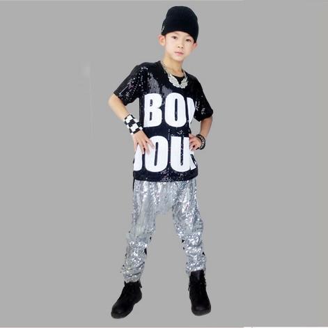 Free Shipping Summer Style Fashion Sequin Costume Dance Clothing Girls u0026 Boys Hip Hop Dance ...