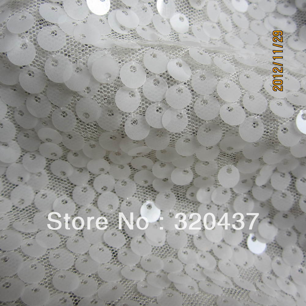 Allovered paillettes tessuto di pizzo avorio dairy bianco paillettes ricamo tessuto 5mm paillette semitrasparente(China (Mainland))