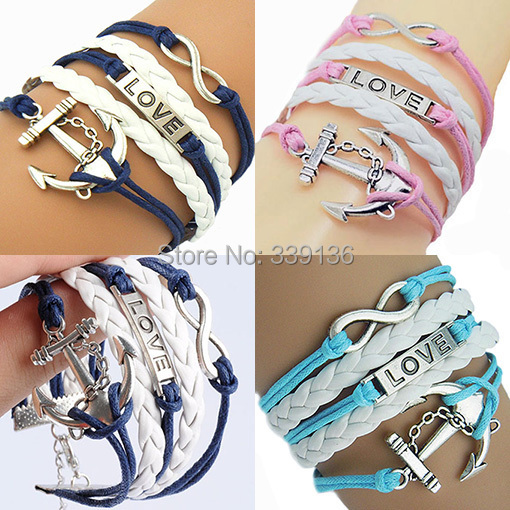 1pc Silver Infinity Love Sailor Anchor Charms Hand Made Leather Rope Chains Wrap Bracelet new fashion jewelry men women - BEYOND JEWELRY (No minimum order limit store)
