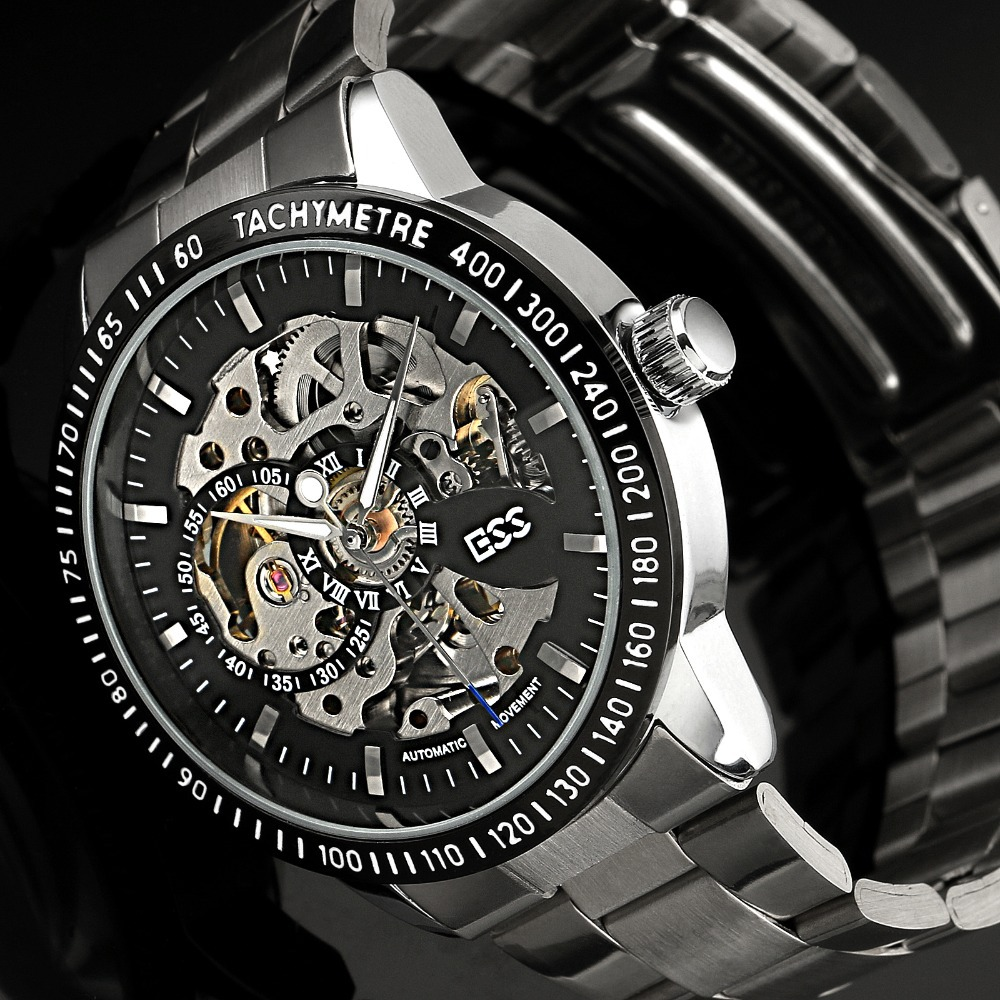 2015 Men's Stainless Steel Black Bezel Steampunk Skeleton Dial Luxury Automatic Mechanical Watch Brand Hot WM400-ESS - ESS INDUSTRIAL LTD Store store