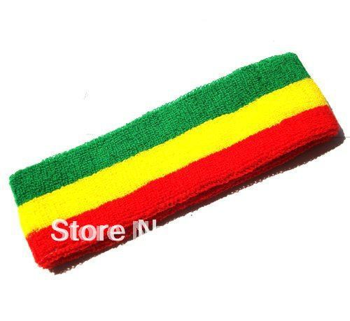 100%cotton High quality Punk hiphop styles Rasta Sweat red yellow green  HEAD Bands SPORT SWEATBAND SET Tennis