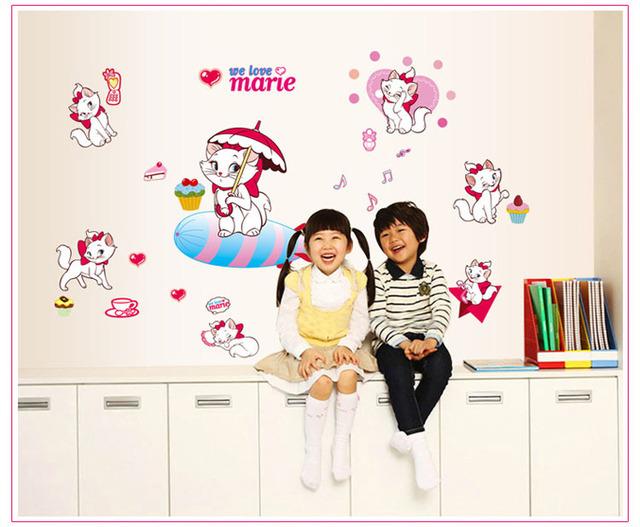 Koop leuke marie kat muurstickers voor meisjes kamer decors roze - Kamerdecoratie voor meisjes ...