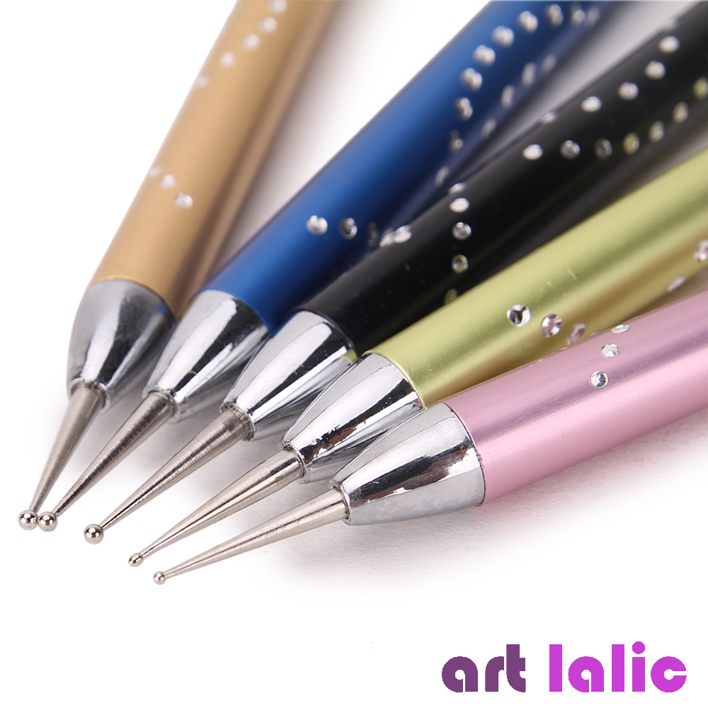 Luxury 5 Pcs 2-Way Nail Art Dotting Pens Aluminum Marbleizing Painting Dot Rhinestones Tool