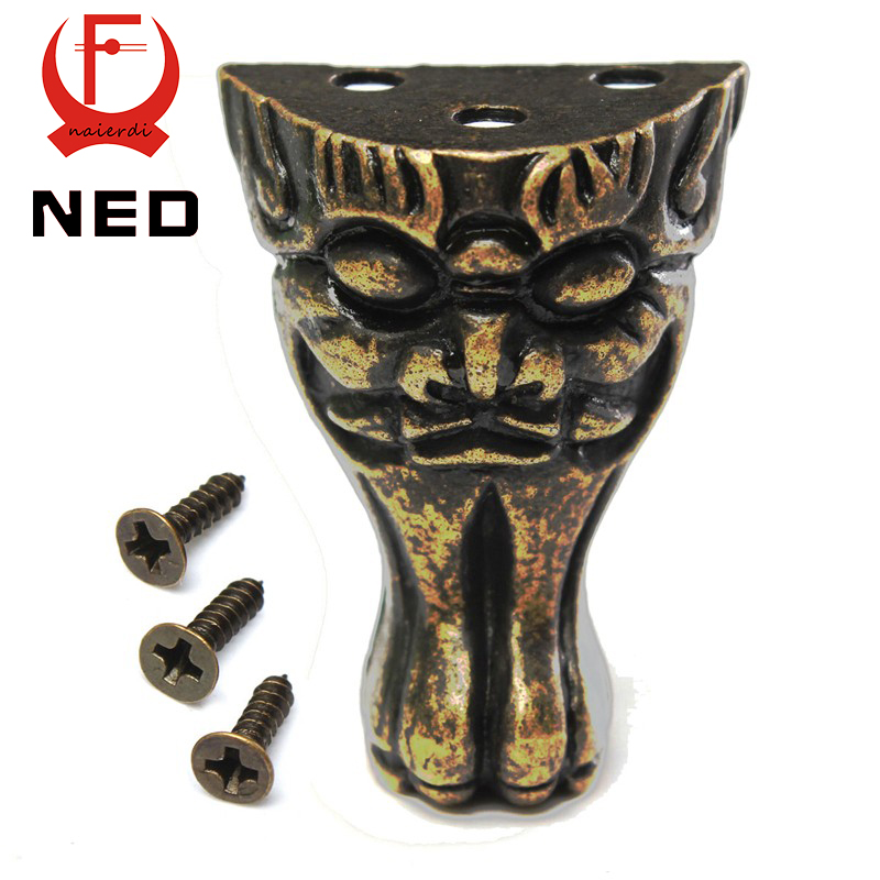 Ned Antique Brass Jewelry Chest Wood Box Cabinet Decorative Feet Leg Corner Protector For