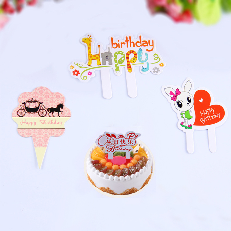 50 pcs/lot cartoon happy birthday cake decoration card Cupcake Topper Picks Kids Birthday Party Decoration Cake Insert Card(China (Mainland))