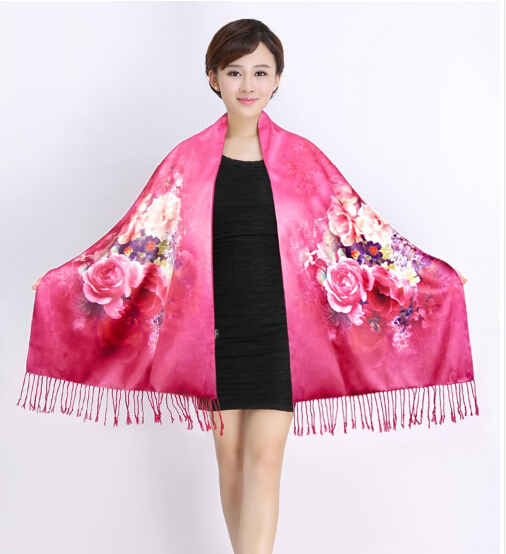 Top Grade 100% Pure Silk Shawl wrap scarf scarves thickening women tease spring autumn winter silk cape(China (Mainland))