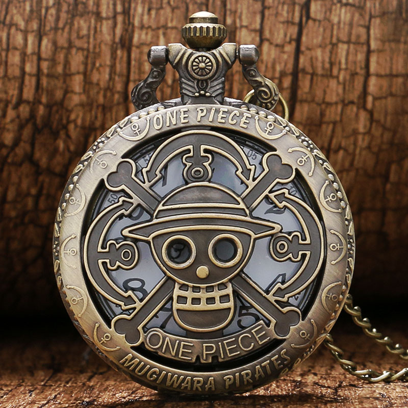 Vintage Hollow Bronze One Piece Theme Quartz Pocket Watch with Necklace Chain for Boys Children Birthday Gift Reloj de bolsillo(China (Mainland))