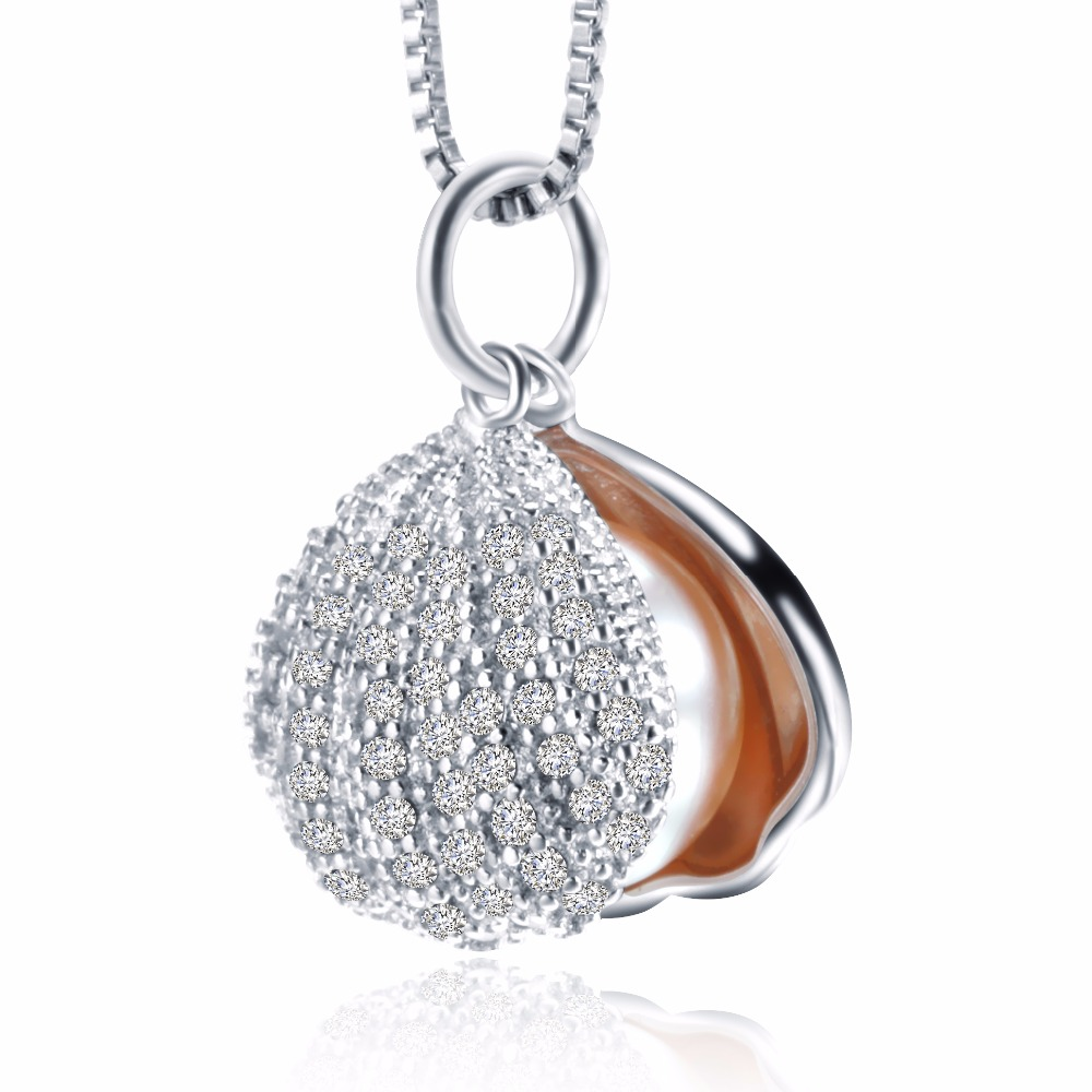Luxury Full CZ Shell pendant necklace fashion 3 colors Genuine Freshwater Pearl Jewelry Female necklace Party jewelry(China (Mainland))
