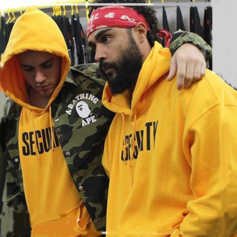 2016 justin bieber fear of god purpose tour yellow hoody new fashion thick fleece security purpose - Duties Of A Producer