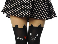 New Fashion Black Eiffel Tower Cat Tail Patchwork Totoro Velvet Tattoo Women Tights Pantyhose Sexy Thin