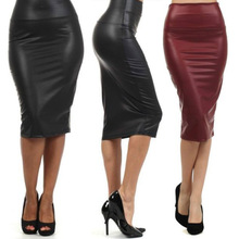 free shipping plus size high-waist faux leather pencil skirt black skirt 9 colors S/M/L/XL