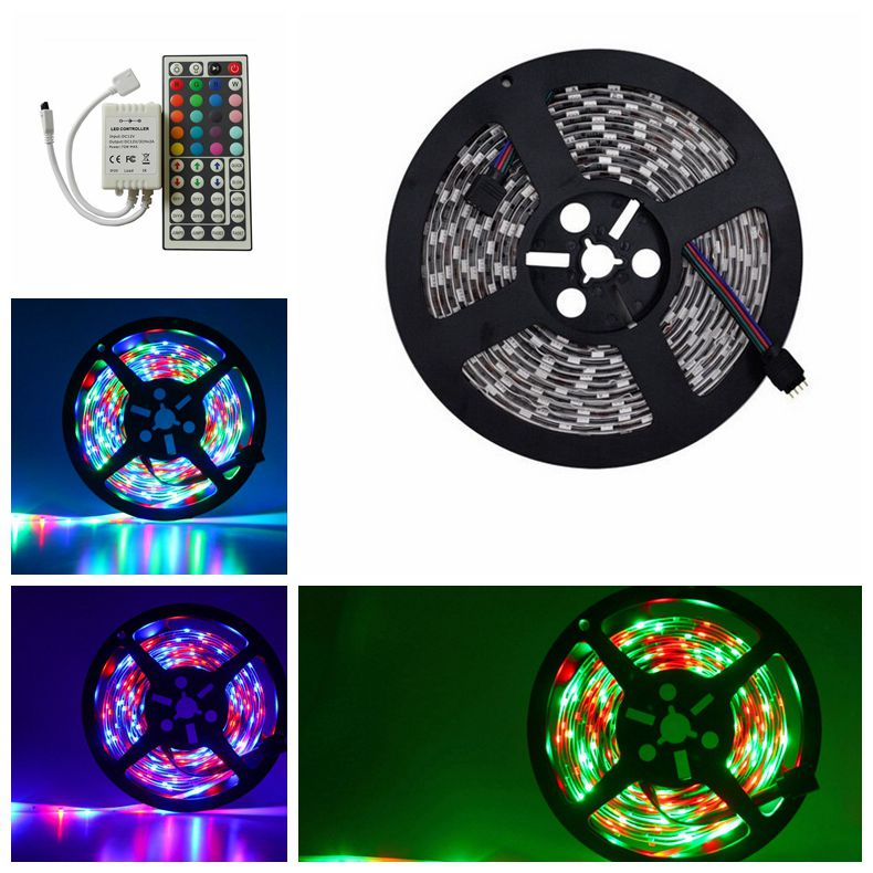 5M RGB 5050 led strip lighting 60led/M 300Leds DC12V Non-waterproof flexible led strip light+ 44key led RGB IR Remote controller(China (Mainland))
