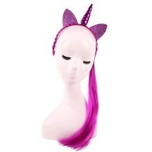 Nishine สายรุ้งสีหางม้ายูนิคอร์น Headbands Glitter หู(China)