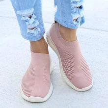 Phụ nữ Giày Cộng Với Kích Thước 43 Phụ Nữ Vulcanize Giày Thời Trang Trượt On Giày Vớ Nữ Lưới Không Khí Phẳng Giản Dị Tenis feminino(China)
