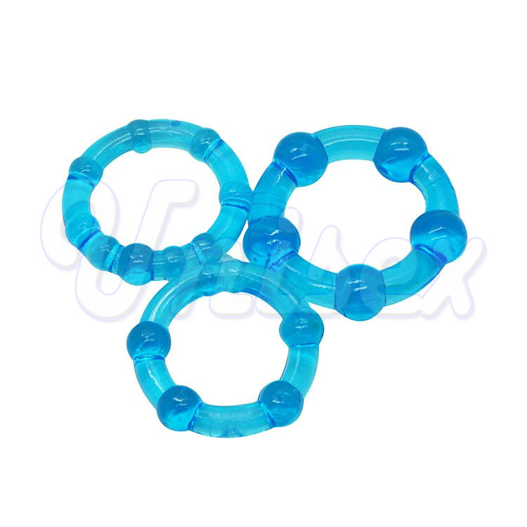 ( Blue ) Beaded Triple Time Delay Penis Rings Cock Rings Set for Man, Erotic Sex Toys Adult Sex Products for Couple