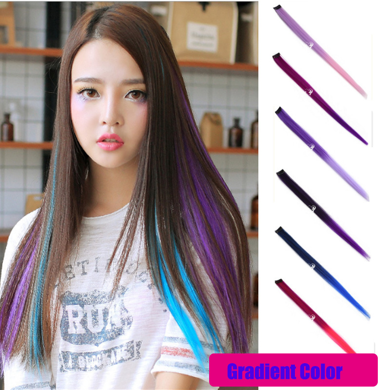 Top Quality Hair Extensions Fashion Women's Long Synthetic Clip In Extensions Gradient Color Cosplay Hair Pieces For Party