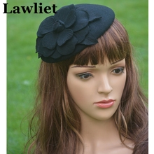 A083 Black Flower Womens Dress Vintage Fascinator Wool Pillbox Hat Party Wedding(China (Mainland))