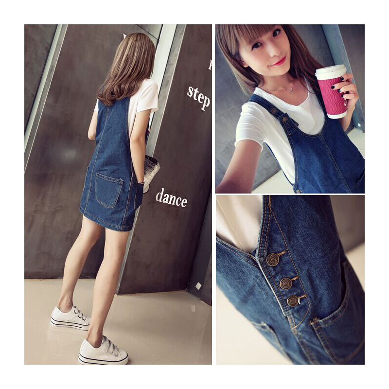2016 Spring And Autumn New Denim Strap Dress Was Thin Dress Women's Summer Influx Of Students Denim Vest Short C2T9 21 02(China (Mainland))