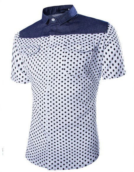Mens polka dot shirt short sleeve with pockets patchwork for Mens polka dot shirt short sleeve