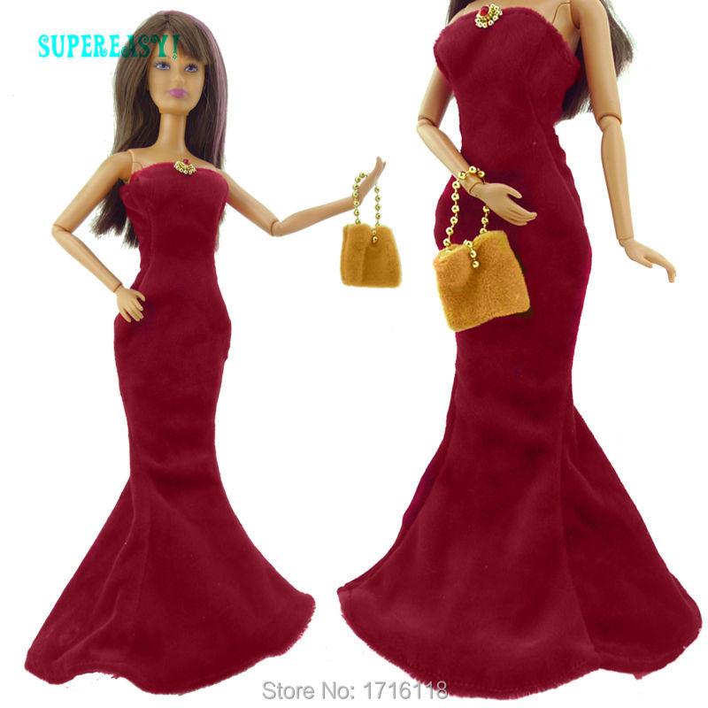 Strapless Wedding ceremony Skirt Dinner Occasion Robe Fishtail Gown Purse Equipment For Barbie Doll Garments Child Toys Reward