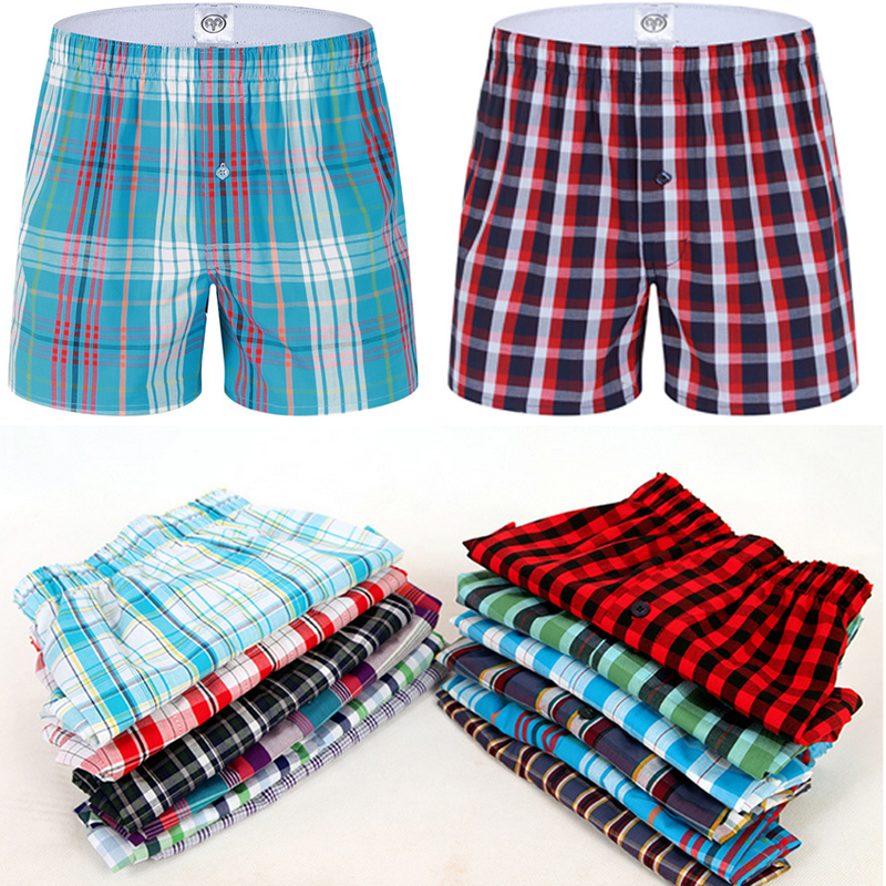 Classic Plaid Men Boxer Shorts Mens Underwear Trunks Cotton Cuecas Underwear boxers for male Woven Homme Boxer Arrow Panties(China (Mainland))